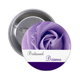 BRIDESMAID Button with PURPLE Rose V3 Pinback Button