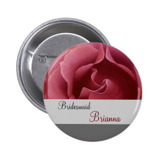 BRIDESMAID Button with RED Rose Pinback Button