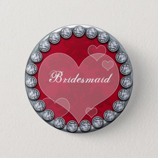 Bridesmaid button with silver diamonds heart