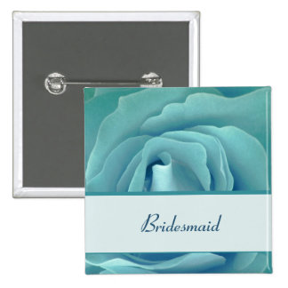 BRIDESMAID Button with Turquoise Rose and Ribbon