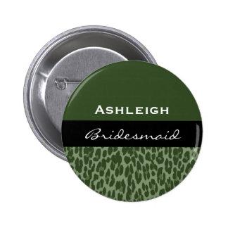 Bridesmaid Cactus Green Leopard V09C 6 Cm Round Badge