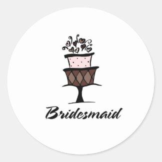 Bridesmaid Cake Classic Round Sticker