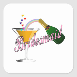 Bridesmaid Champagne Toast Square Sticker