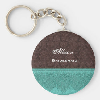 Bridesmaid Chocolate and Teal Damask Ribbon V08 Basic Round Button Key Ring