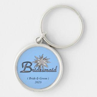 Bridesmaid Customizable Keychain Blue