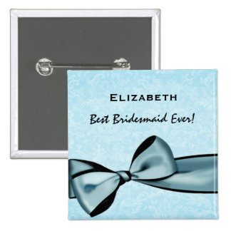 Bridesmaid Faux Blue Satin Bow Custom Name 15 Cm Square Badge