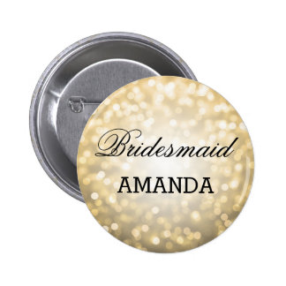 Bridesmaid Favor Gold Glitter Lights 6 Cm Round Badge