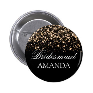 Bridesmaid Favor Gold Midnight Glam 6 Cm Round Badge