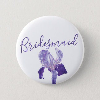 Bridesmaid flag iris purple wedding pin / button