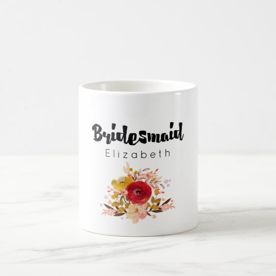 Bridesmaid - Floral Watercolor Bouquet Wedding Coffee Mug