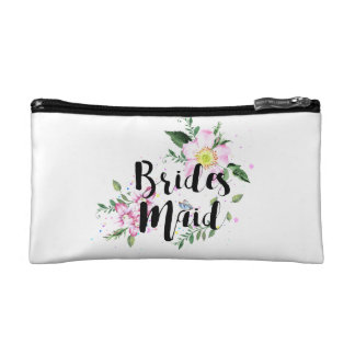 Bridesmaid Floral Watercolor Wedding Cosmetic Bag