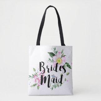 Bridesmaid Floral Watercolor Wedding Tote Bag