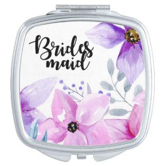 bridesmaid gift floral compact mirror