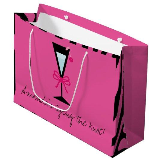 Bridesmaid gift personalised pink and black Zebra Large