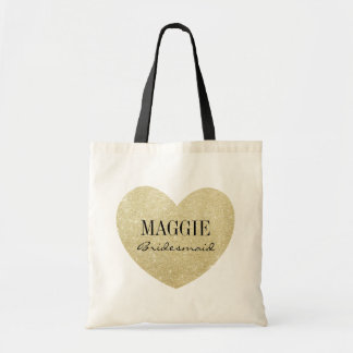Bridesmaid Glitter Golden heart personalized Budget Tote Bag