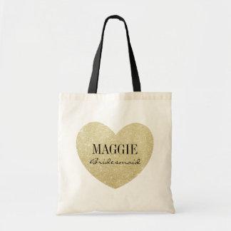 Bridesmaid Glitter heart-Print personalize Budget Tote Bag