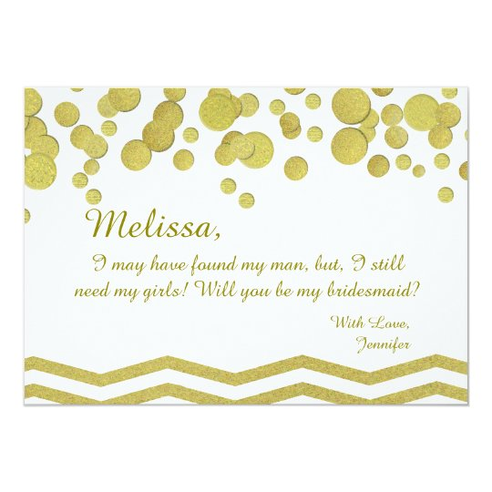 Bridesmaid Gold Confetti and Chevron Card
