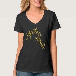 Bridesmaid, Gold, Cursive Letters Black T-Shirt