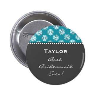 Bridesmaid Gray and Teal Snowflakes Style 2 B04 Pinback Button