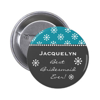 Bridesmaid Gray and Teal Snowflakes Style 6 B08 Pinback Button