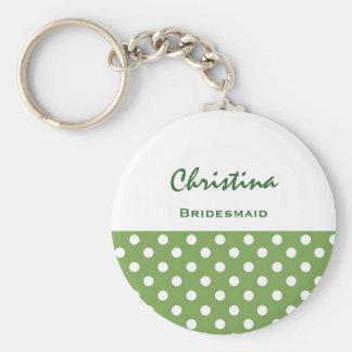Bridesmaid Green Polka Dots KC04 Basic Round Button Key Ring