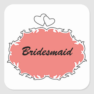 Bridesmaid Heart Frame (customizable) Square Sticker