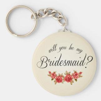 Bridesmaid Invitation Basic Round Button Key Ring
