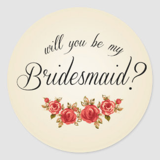 Bridesmaid Invitation Classic Round Sticker