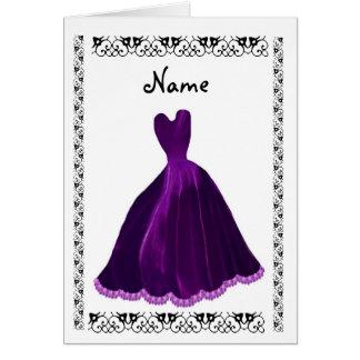 BRIDESMAID Invitation - PURPLE Velvet Gown Cards