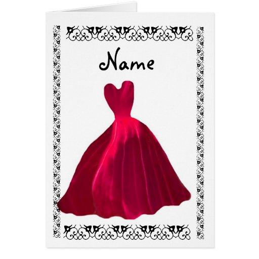BRIDESMAID Invitation - ROSE RED Velvet Gown Greeting Cards