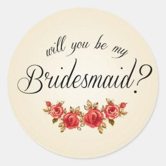 Bridesmaid Invitation Round Sticker
