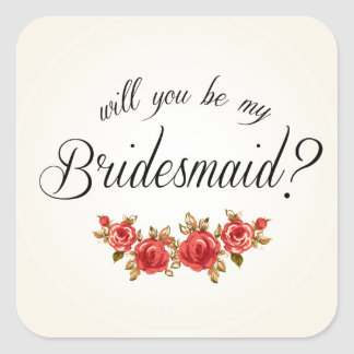 Bridesmaid Invitation Square Sticker