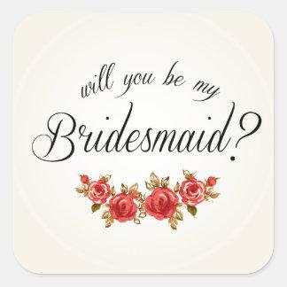 Bridesmaid Invitation Square Sticker