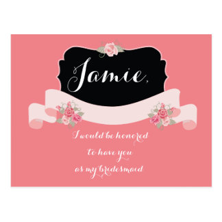 Bridesmaid Invitations Pink Floral Postcard
