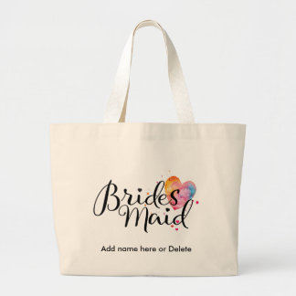 Bridesmaid Large Canvas Tote Watercolor Heart