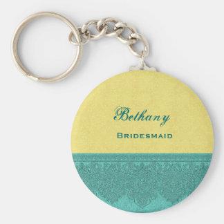 Bridesmaid Lemon Yellow and Teal Damask Ribbon V14 Basic Round Button Key Ring