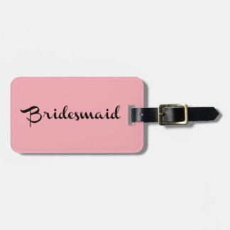 Bridesmaid Luggage Tag Black on Pink