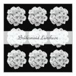 Bridesmaid Luncheon Invitation -- White Roses 13 Cm X 13 Cm Square Invitation Card