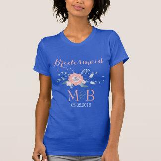 Bridesmaid monogram wedding t-shirt Blush and blue