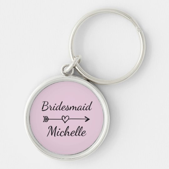 Bridesmaid name keychains with heart and arrow