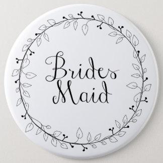Bridesmaid name tag 6 cm round badge