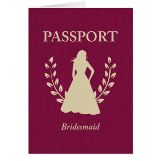 Bridesmaid Passport Note Card