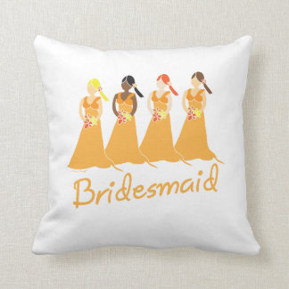 Bridesmaid Peach Dresses Throw Cushions