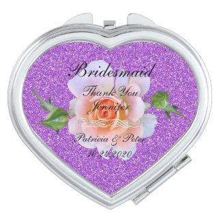 Bridesmaid Personalised Glitter Mirrors For Makeup