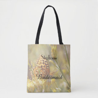Bridesmaid Personalized Tote, Yellow Butterfly Tote Bag