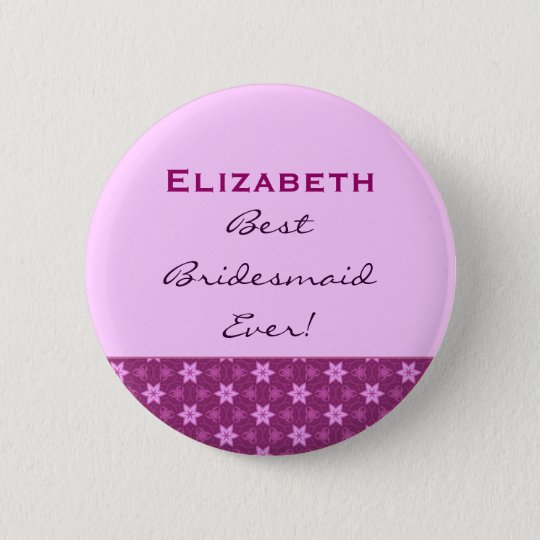 Bridesmaid Petite Pink Stars Custom Name 6 Cm Round Badge