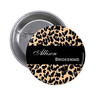 BRIDESMAID Pin Button Tan Leopard V207A2