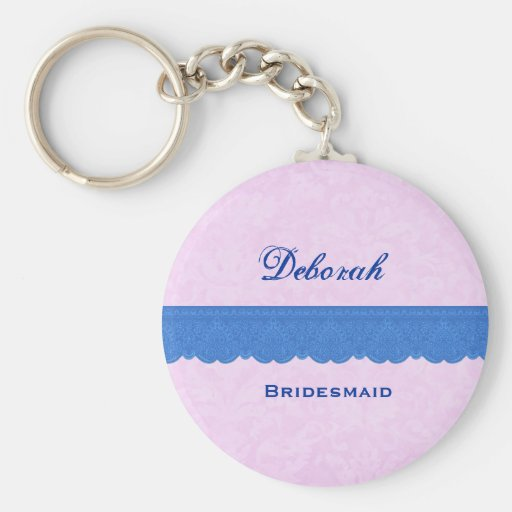 Bridesmaid Pink and Blue Damask Lace B024 Key Chains