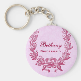 Bridesmaid Pink and Red Horsehoe Floral E022 Basic Round Button Key Ring