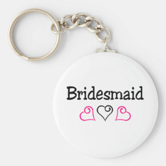Bridesmaid Pink Black Hearts Basic Round Button Key Ring